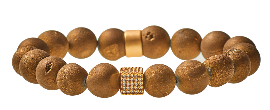 Golden Brown Druzy Agate Beaded Crown Jewel Bracelet with Gold Spacers