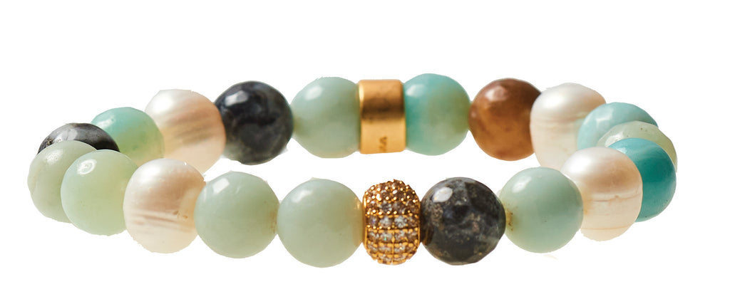 Amazonite & Fresh Water Pearl Beaded Crown Jewel Bracelet with Gold Spacers