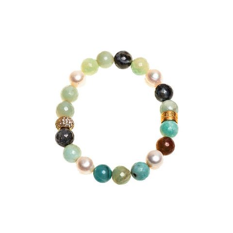 Amazonite & Fresh Water Pearl Beaded Crown Jewel Bracelet with Gold Spacers - BellaRyann