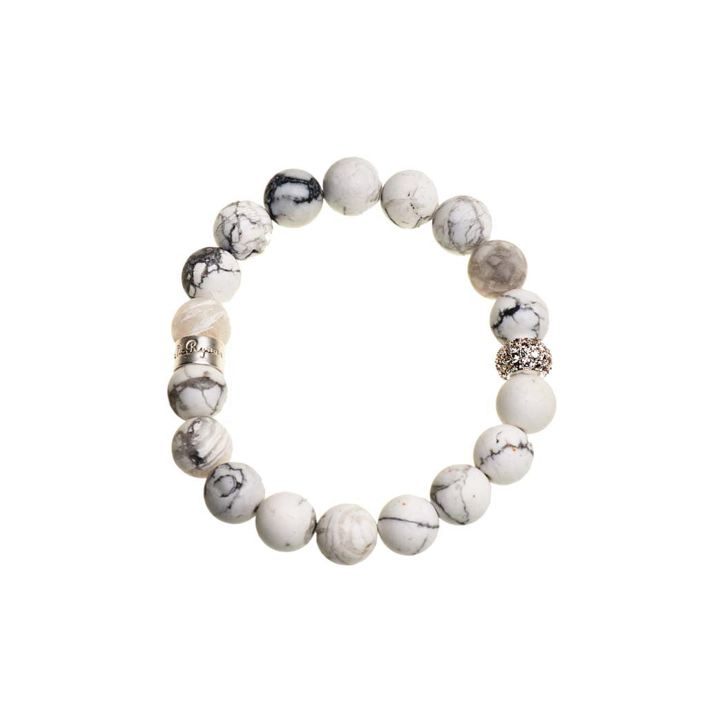 Howlite White & Gray Beaded Crown Jewel Bracelet with Silver Spacers - BellaRyann