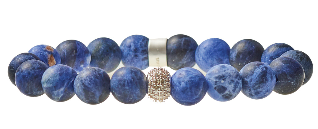 Sodalite Royal Blue Beaded Crown Jewel Bracelet with Silver Spacers - BellaRyann
