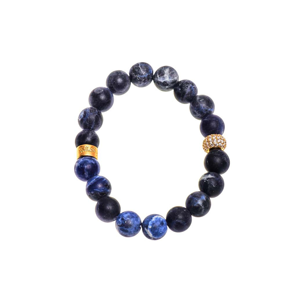 Sodalite Royal Blue Beaded Crown Jewel Bracelet with Gold Spacers
