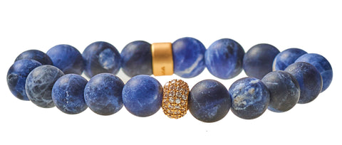 Sodalite Royal Blue Beaded Crown Jewel Bracelet with Gold Spacers - BellaRyann