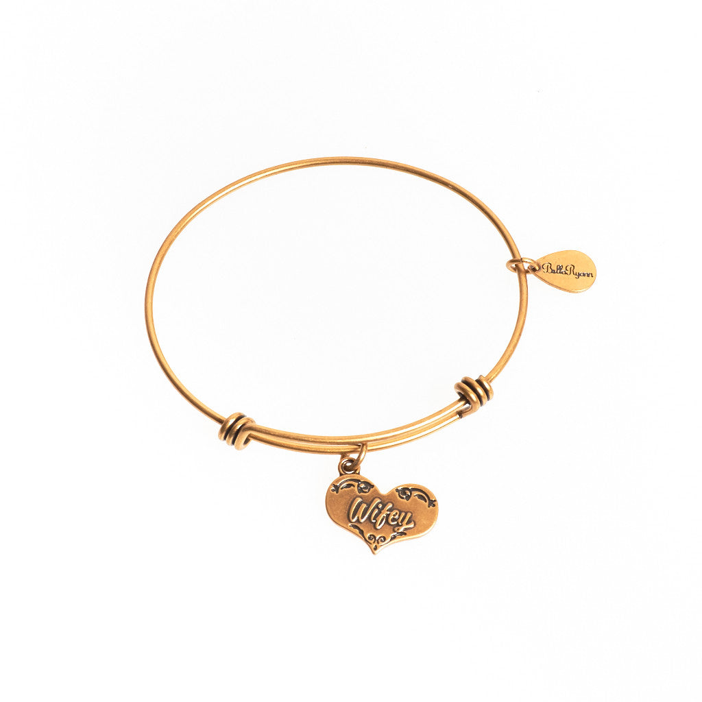 Wifey Expandable Bangle Charm Bracelet in Gold - BellaRyann