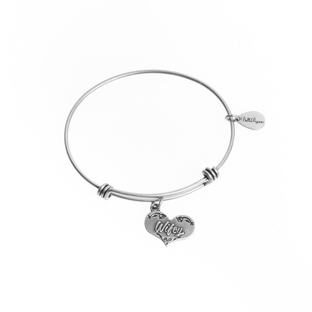 Wifey Expandable Bangle Charm Bracelet in Silver