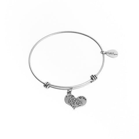 Wifey Expandable Bangle Charm Bracelet in Silver - BellaRyann
