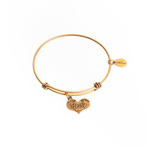 Bestie Expandable Bangle Charm Bracelet in Gold - BellaRyann