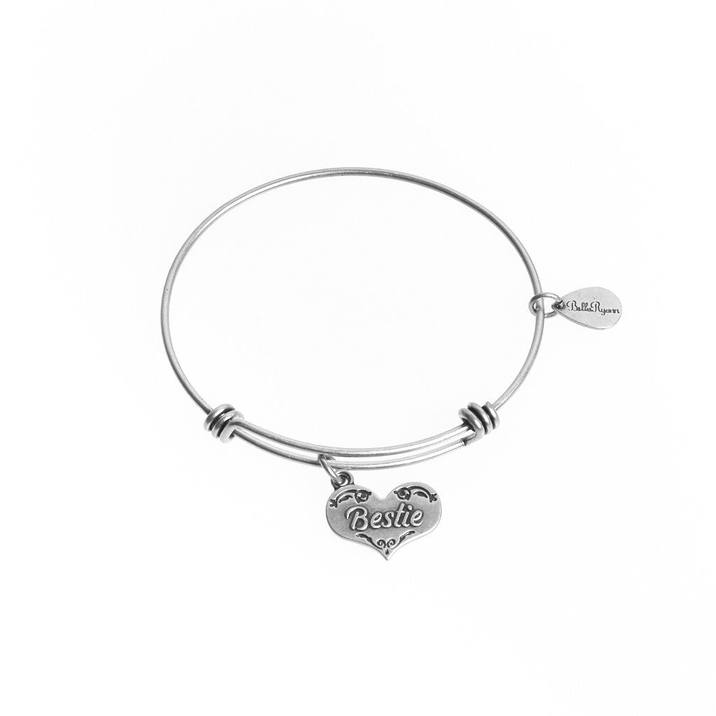 Bestie Expandable Bangle Charm Bracelet in Silver - BellaRyann