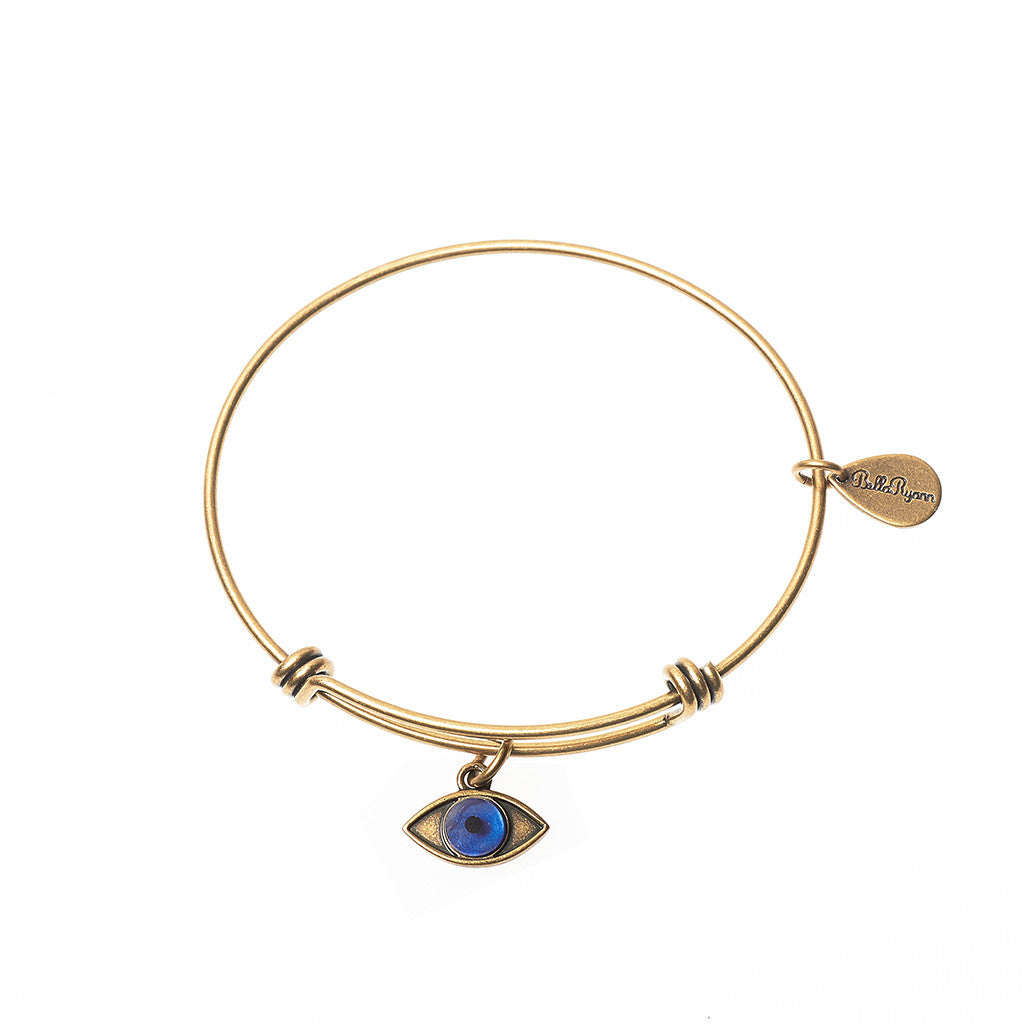 Evil Eye Expandable Bangle Charm Bracelet in Gold - BellaRyann