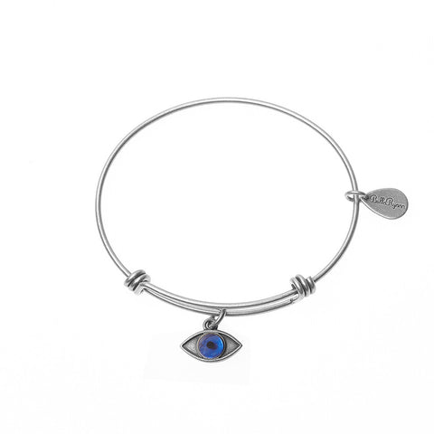 Evil Eye Expandable Bangle Charm Bracelet in Silver - BellaRyann