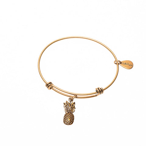 Pineapple Expandable Bangle Charm Bracelet in Gold