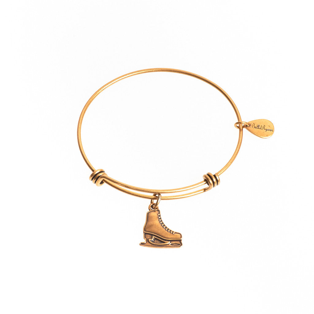 Ice Skate Expandable Bangle Charm Bracelet in Gold - BellaRyann