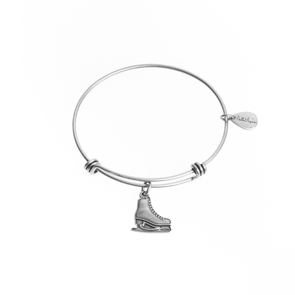 Ice Skate Expandable Bangle Charm Bracelet in Silver - BellaRyann