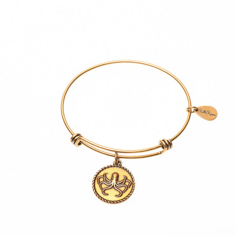 Octopus Expandable Bangle Charm Bracelet in Gold - BellaRyann