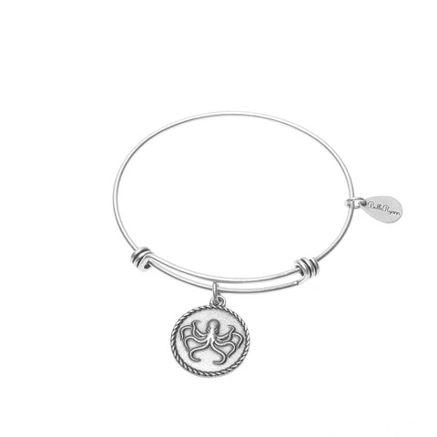 Octopus Expandable Bangle Charm Bracelet in Silver - BellaRyann