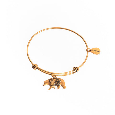 Momma Bear Expandable Bangle Charm Bracelet in Gold
