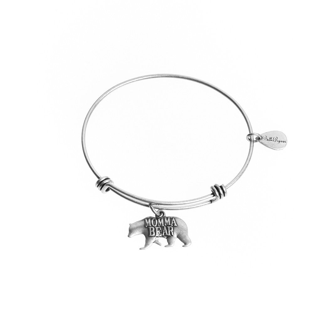 Momma Bear Expandable Bangle Charm Bracelet in Silver