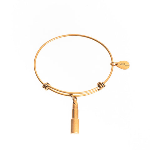 Lipstick Expandable Bangle Charm Bracelet in Gold