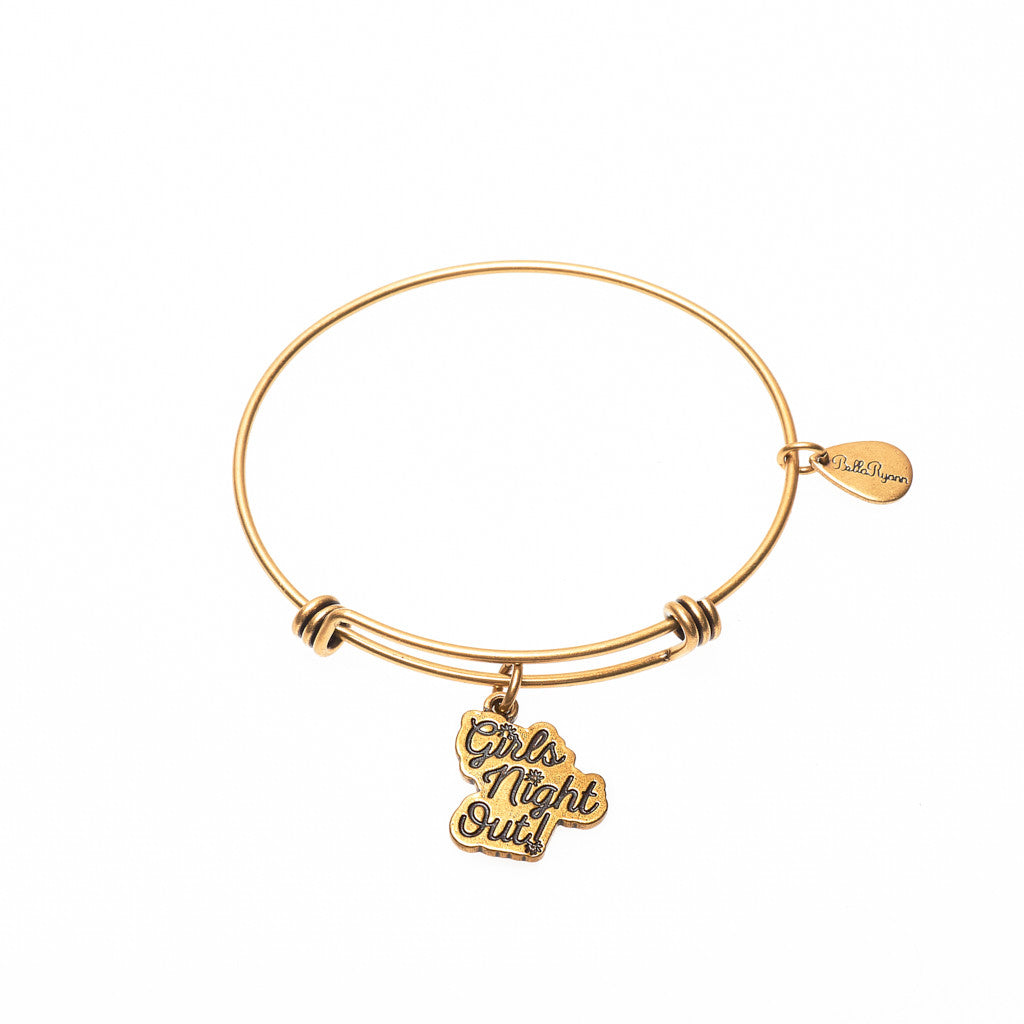 Girls Night Out Expandable Bangle Charm Bracelet in Gold ...