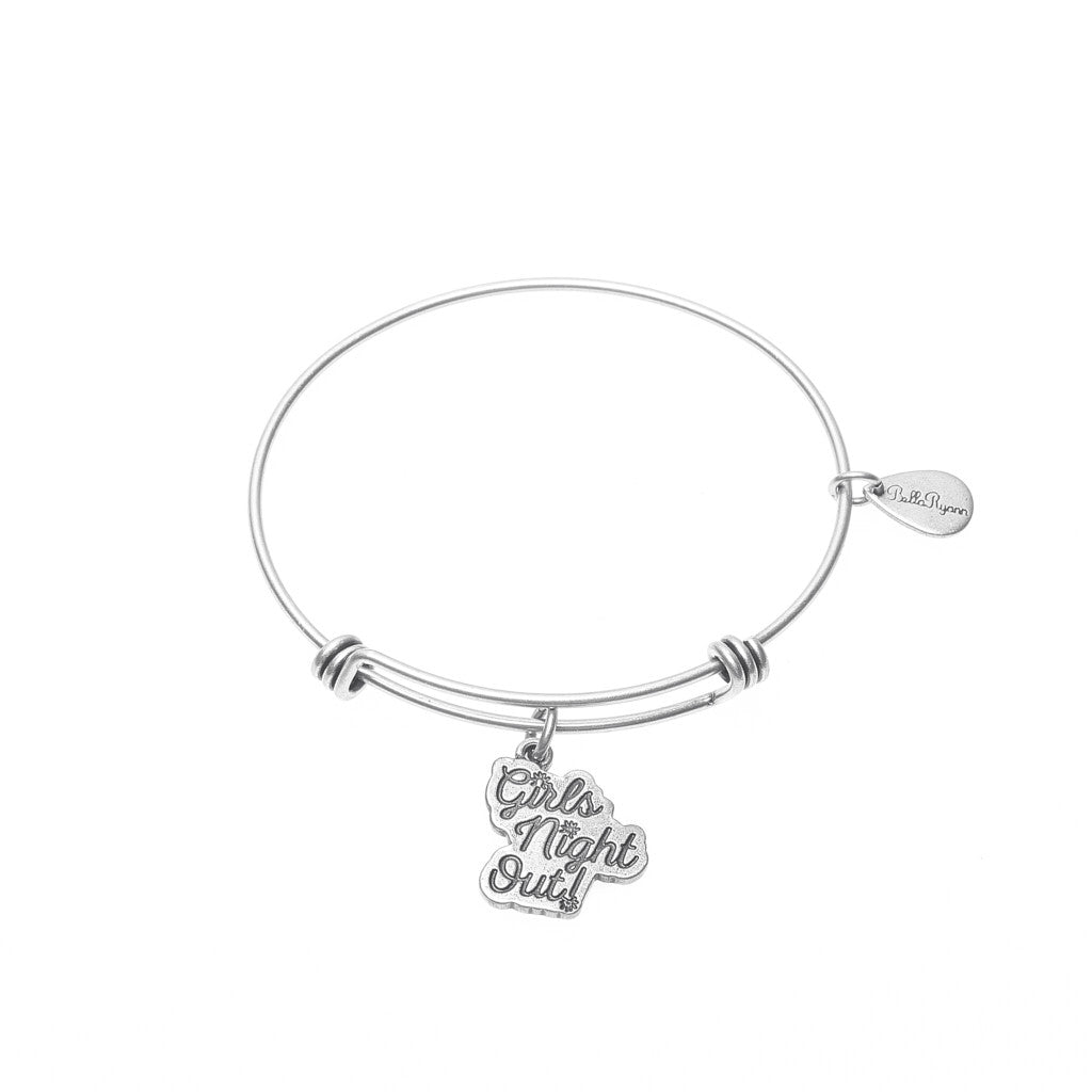 Girls Night Out Expandable Bangle Charm Bracelet in Silver ...