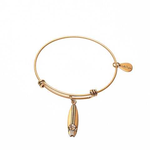 Surfboard Expandable Bangle Charm Bracelet in Gold - BellaRyann