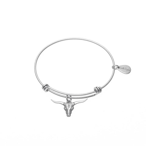 Longhorn Expandable Bangle Charm Bracelet in Silver