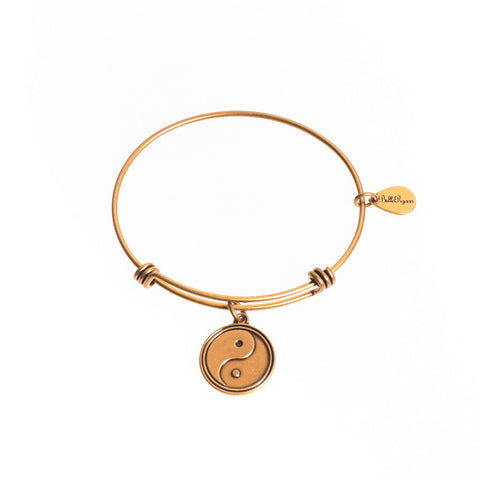 Yin Yang Expandable Bangle Charm Bracelet in Gold - BellaRyann