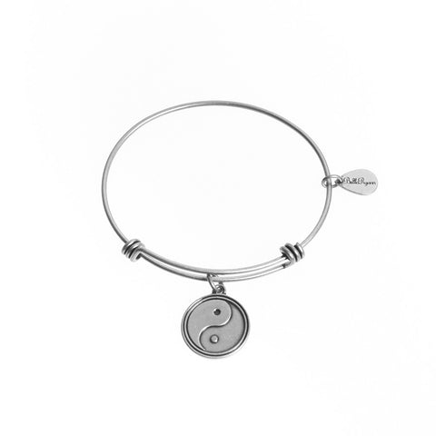Yin Yang Expandable Bangle Charm Bracelet in Silver - BellaRyann
