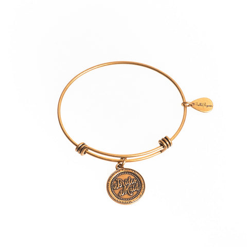 Bridesmaid Expandable Bangle Charm Bracelet in Gold - BellaRyann
