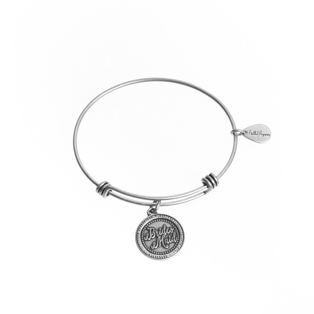 Bridesmaid Expandable Bangle Charm Bracelet in Silver - BellaRyann