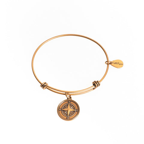 Compass Expandable Bangle Charm Bracelet in Gold - BellaRyann