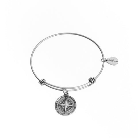Compass Expandable Bangle Charm Bracelet in Silver - BellaRyann