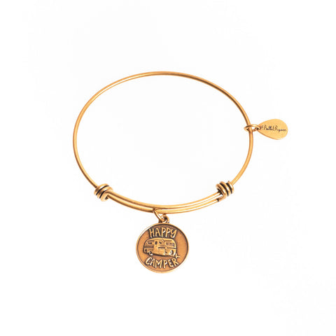 Happy Camper Expandable Bangle Charm Bracelet in Gold - BellaRyann