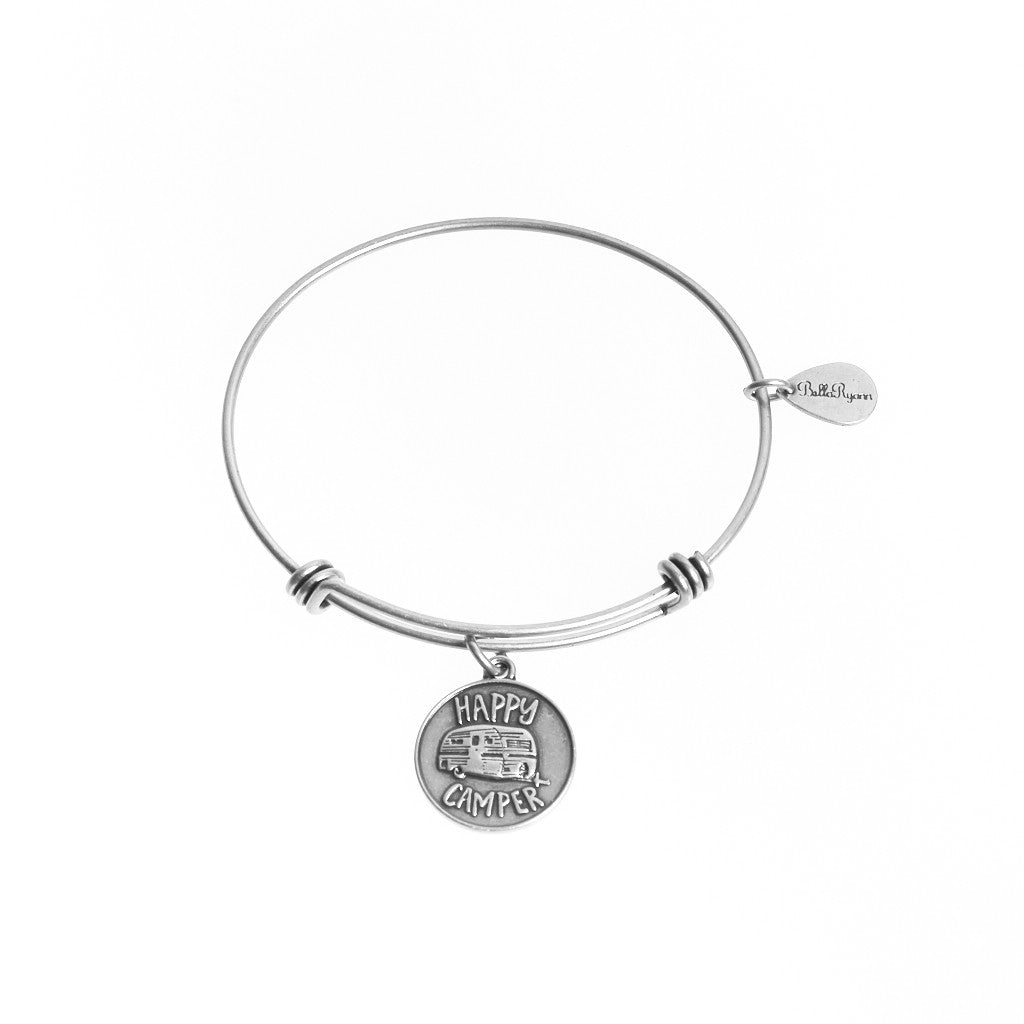 Happy Camper Expandable Bangle Charm Bracelet in Silver - BellaRyann