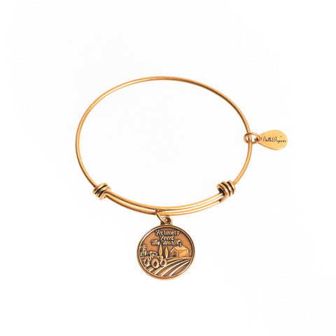 Farmers Feed the World Expandable Bangle Charm Bracelet in Gold - BellaRyann