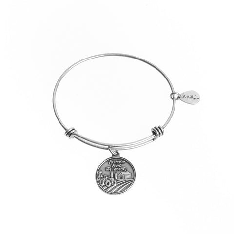 Farmers Feed the World Expandable Bangle Charm Bracelet in Silver - BellaRyann