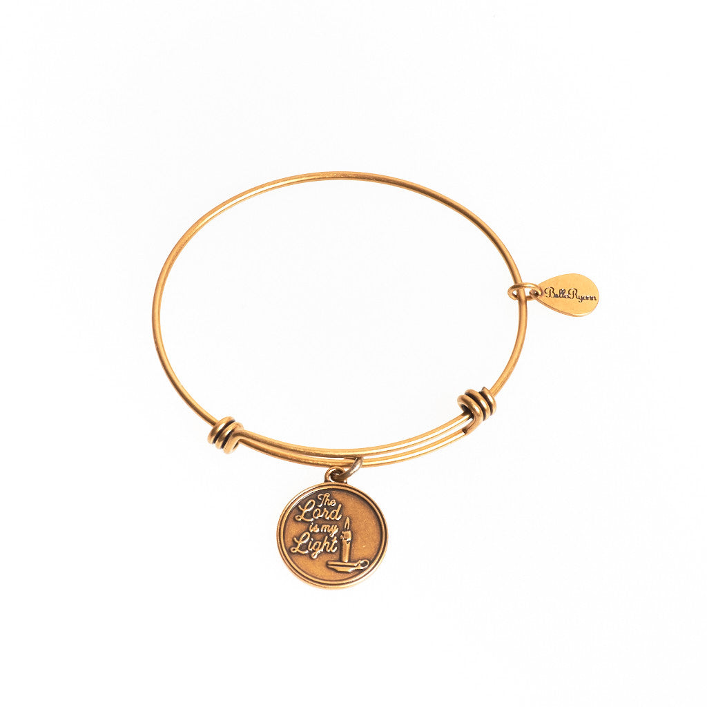 The Lord is My Light Expandable Bangle Charm Bracelet in Gold - BellaRyann