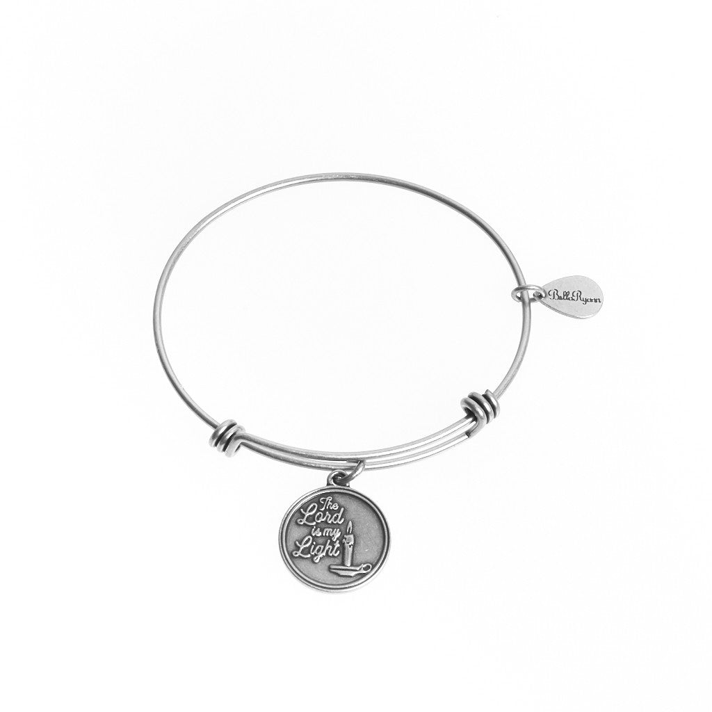 The Lord is My Light Expandable Bangle Charm Bracelet in Silver