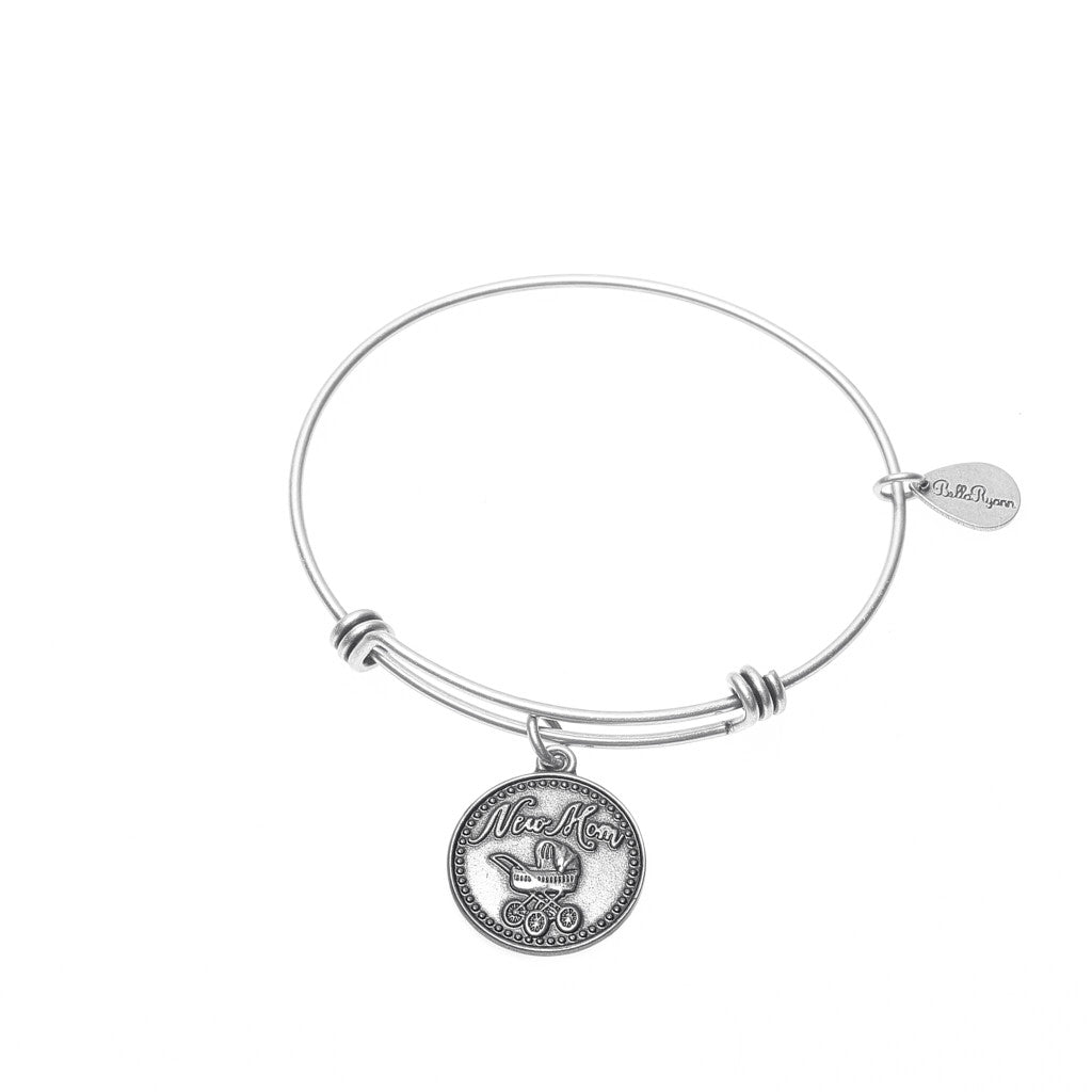 New Mom Expandable Bangle Charm Bracelet in Silver - BellaRyann