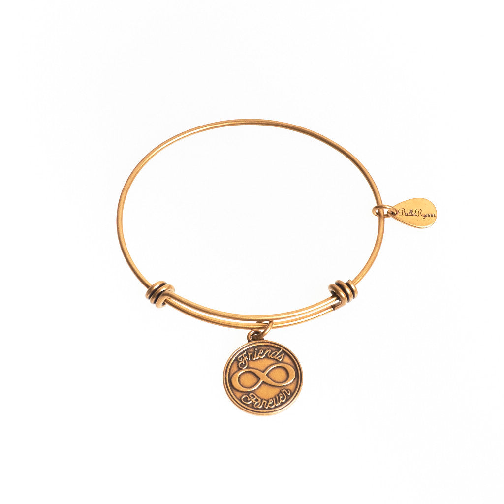 Friends Forever Expandable Bangle Charm Bracelet in Gold - BellaRyann