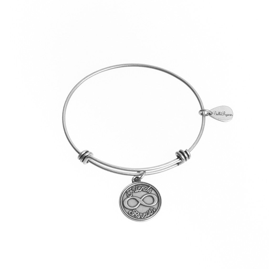 Friends Forever Expandable Bangle Charm Bracelet in Silver - BellaRyann