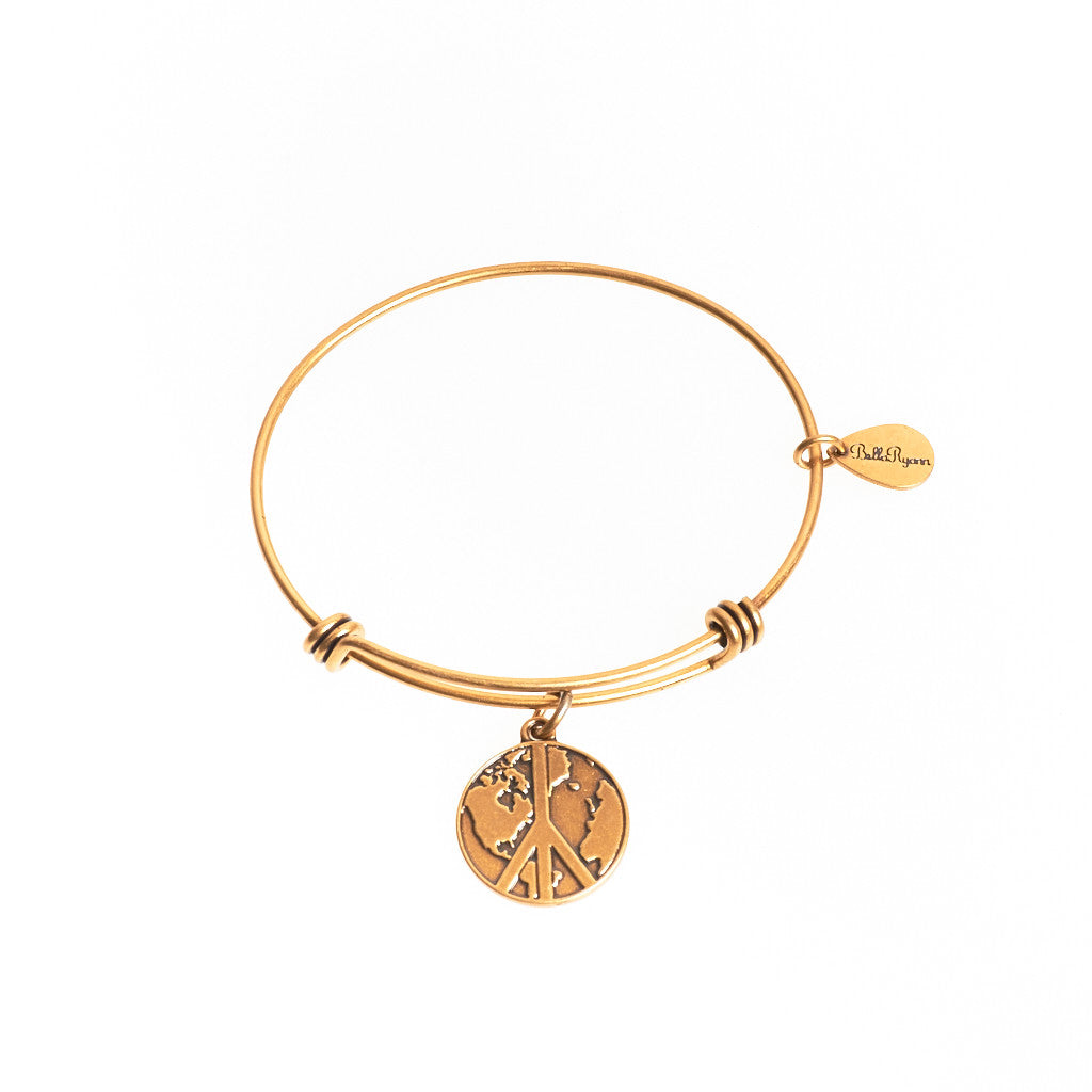World Peace Expandable Bangle Charm Bracelet in Gold - BellaRyann