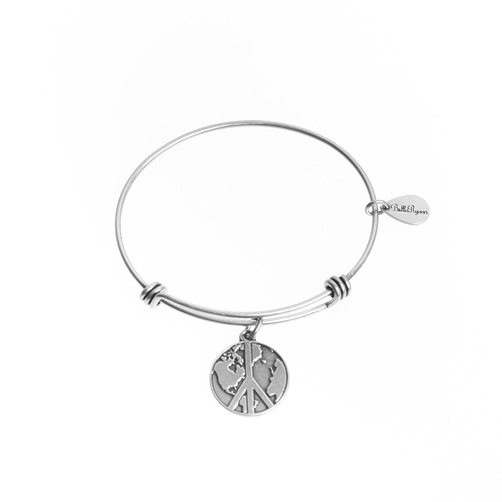World Peace Expandable Bangle Charm Bracelet in Silver - BellaRyann