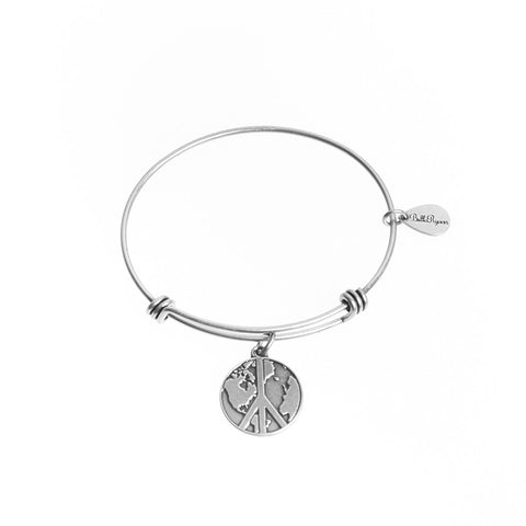 World Peace Expandable Bangle Charm Bracelet in Silver