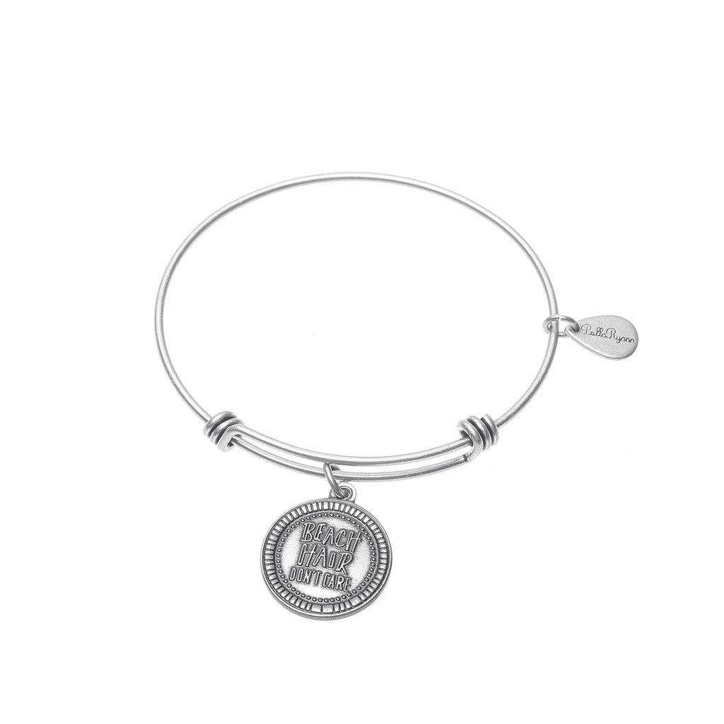 Beach Hair Don't Care Expandable Bangle Charm Bracelet in Silver - BellaRyann