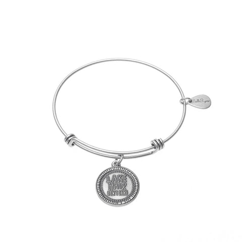 Lake Hair Don't Care Expandable Bangle Charm Bracelet in Silver - BellaRyann