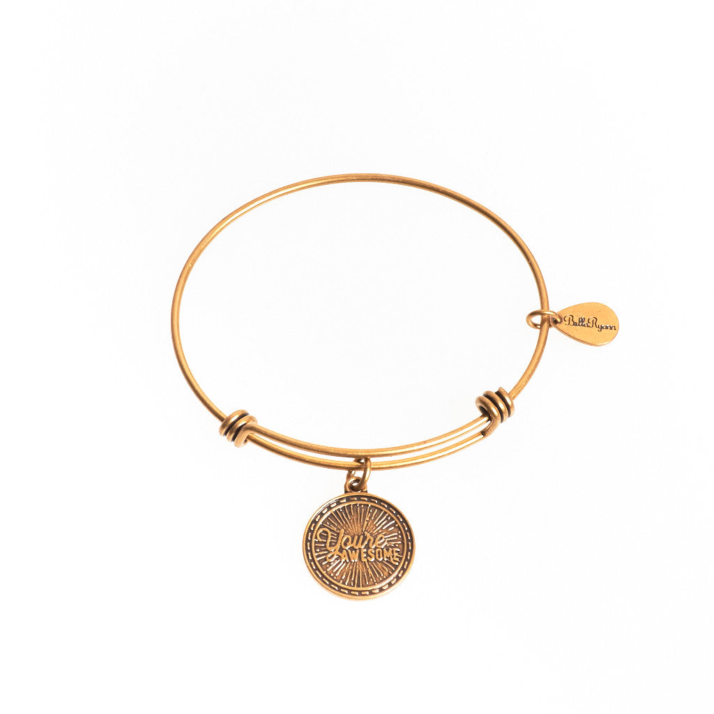 You're Awesome Expandable Bangle Charm Bracelet in Gold - BellaRyann