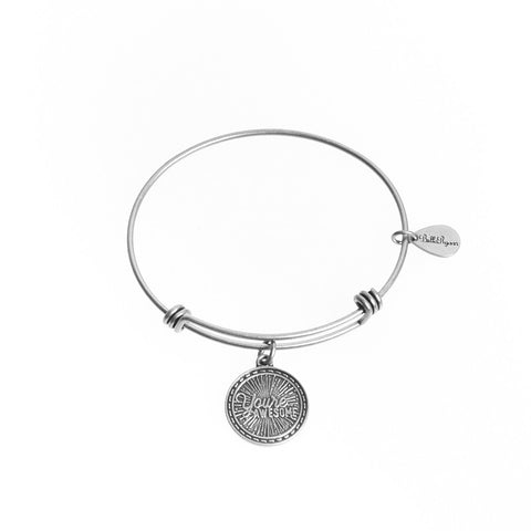 You're Awesome Expandable Bangle Charm Bracelet in Silver - BellaRyann