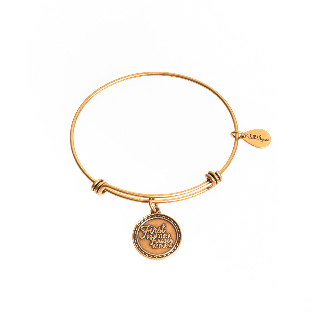 First My Mother Forever My Friend Expandable Bangle Charm Bracelet in Gold - BellaRyann