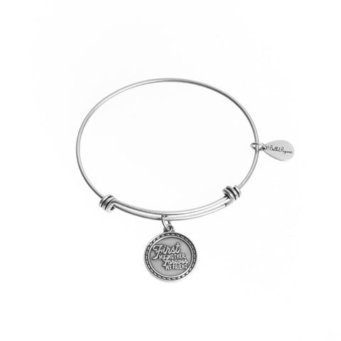 First My Mother Forever My Friend Expandable Bangle Charm Bracelet in Silver - BellaRyann